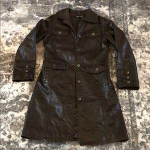 Vintage Steve Madden Genuine Leather Trench Coat M